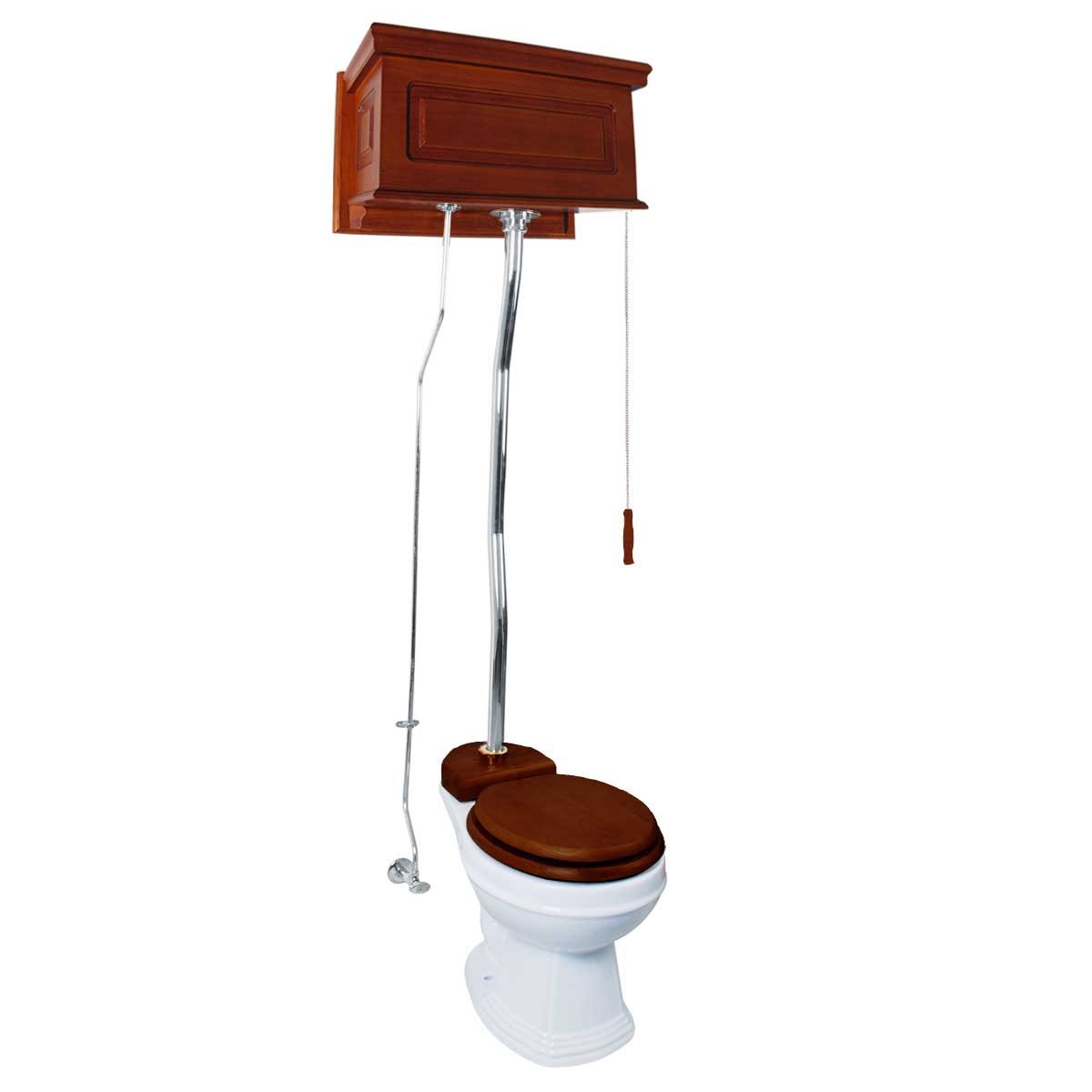 High Tank Pull Chain Toilet White Raised Mahog. Round Z-p...