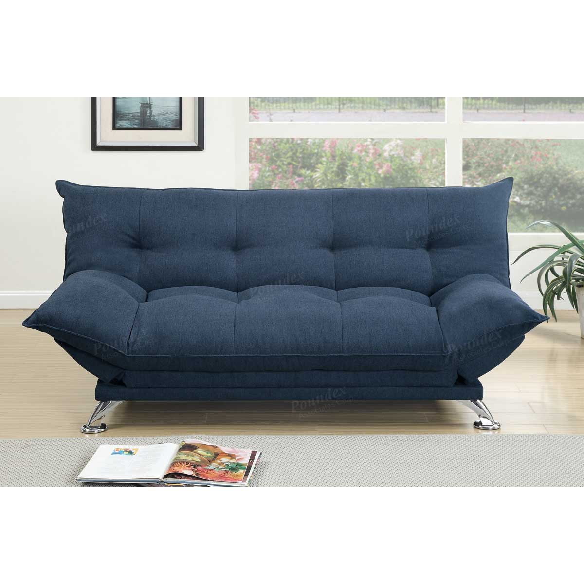 Navy Velvet Fabric Futon Sofa Bed