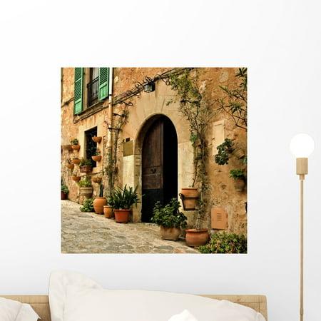 Mediterranean Mural (Mediterranean Village Wall Mural by Wallmonkeys Peel and Stick Graphic (18 in H x 18 in W) WM5747)