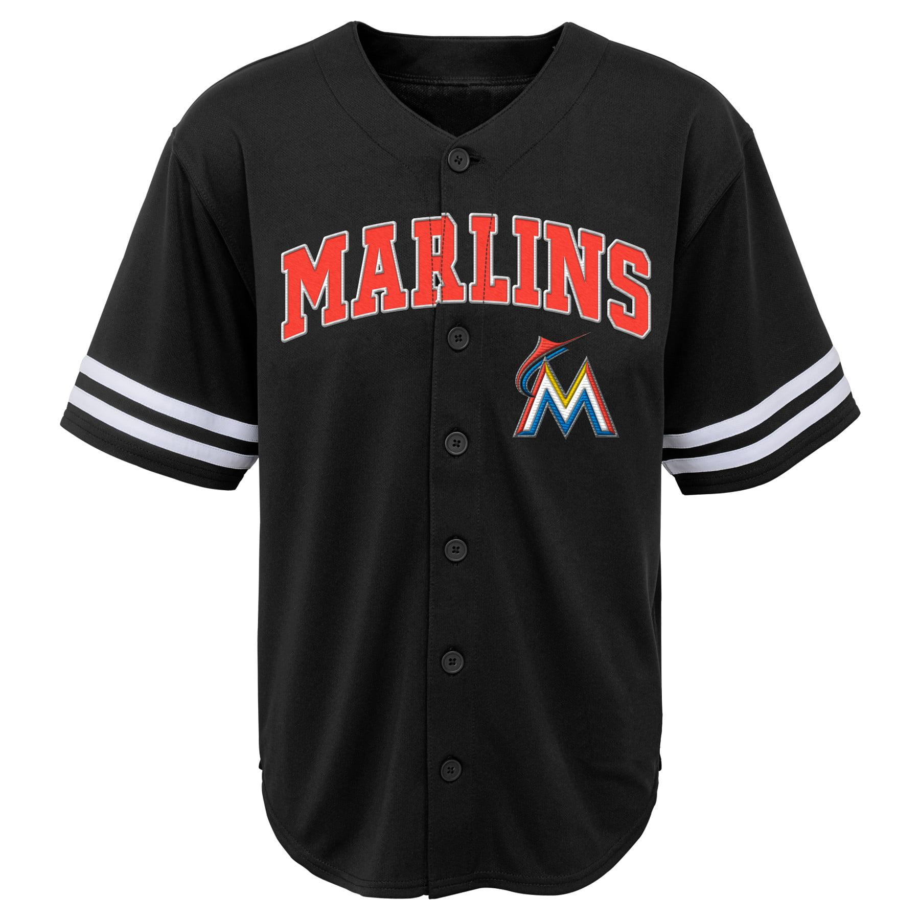 MLB Miami MARLINS TEE Short Sleeve Boys Fashion Jersey Tee 60% Cotton 40% Polyester BLACK Team Tee 4-18