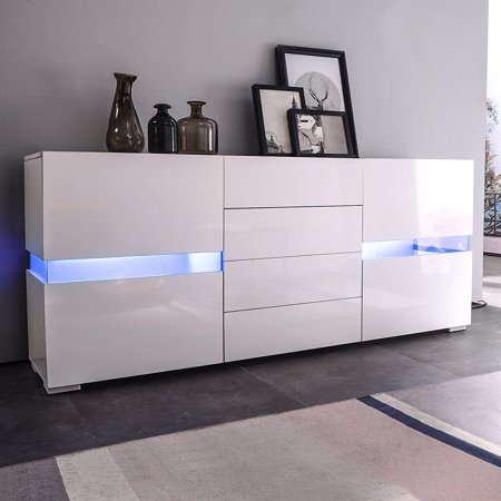 Sideboard Buffet Cabinet Kitchen Dining Room Furniture Server Table 2 doors & 4 drawers Storage,White Mecor