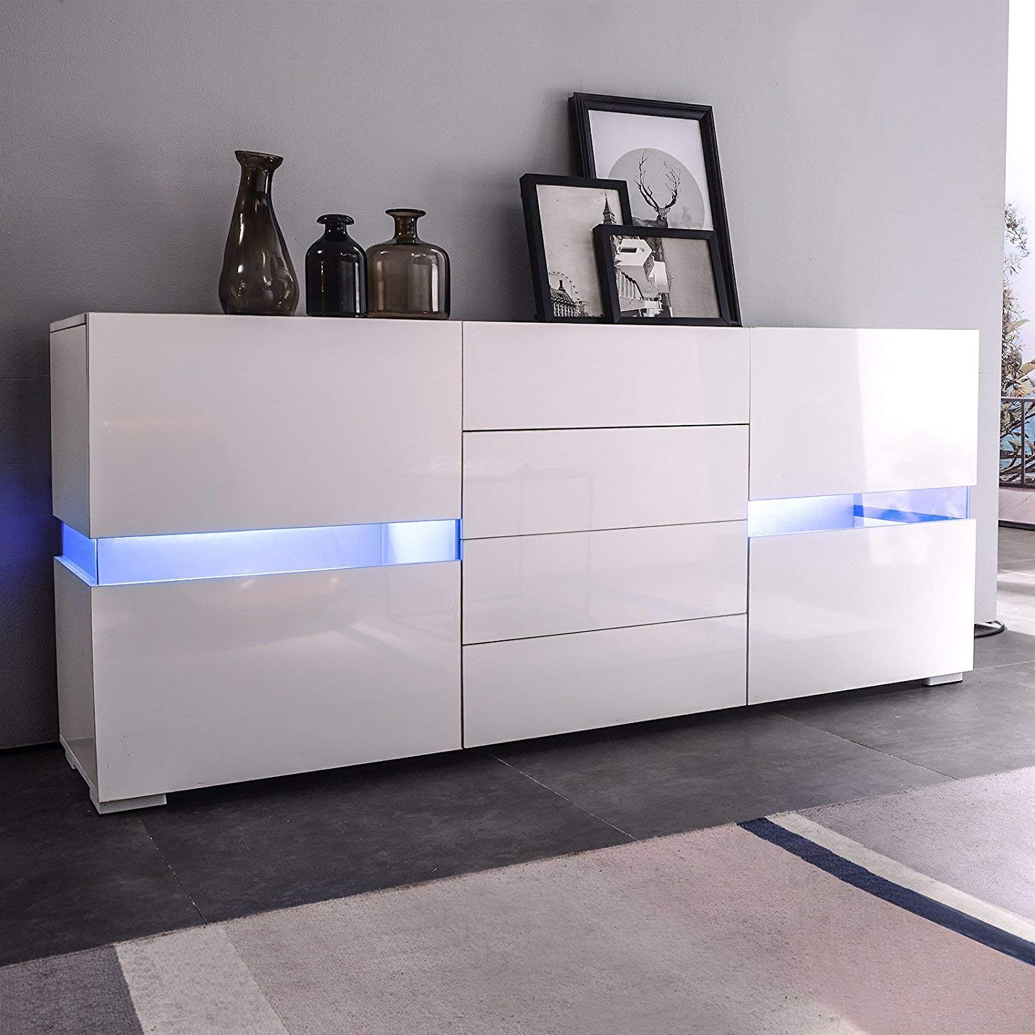 Product Image Sideboard Buffet Cabinet Kitchen Dining Room Furniture Server  Table 2 Doors U0026 4 Drawers Storage,