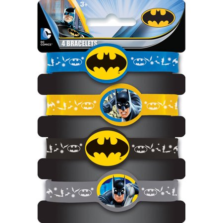 Batman Rubber Bracelet Party Favors, Assorted, 4ct - Batman Party Plates