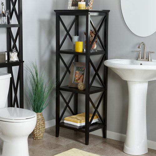 RiverRidge X-Frame 4-Shelf Storage Tower, Espresso