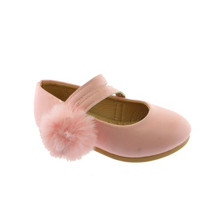 Kate Little Girls Pink Double Strap Pom-Pom Mary Jane Shoes](Pink Girls Shoes)