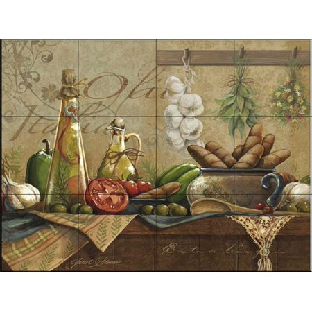Ceramic Tile Mural - Olio d Olive- by Janet Stever - Kitchen backsplash / Bathroom -