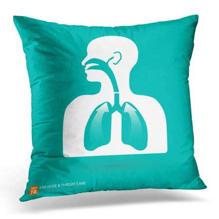 CMFUN Mouth System Respiratory Care with Ear Nose and Throat Symbol Sinus Nasal Pillow Case Cushion Cover 16x16 Inches