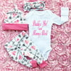 4PCS Newborn Infant Baby Girls Outfits Clothes Tops Romper Bodysuit+Pants Leggings+Hat+Headband Set 0-6 Months