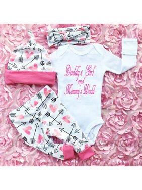 4PCS Newborn Infant Baby Girls Outfits Clothes Tops Romper Bodysuit+Pants Leggings+Hat+Headband Set 0-6 Months