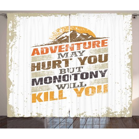 Adventure Curtains 2 Panels Set, Adventure Versus Monotony Quote with Sun and Mountains Movement Suggesting Image, Window Drapes for Living Room Bedroom, 108W X 84L Inches, Multicolor, by