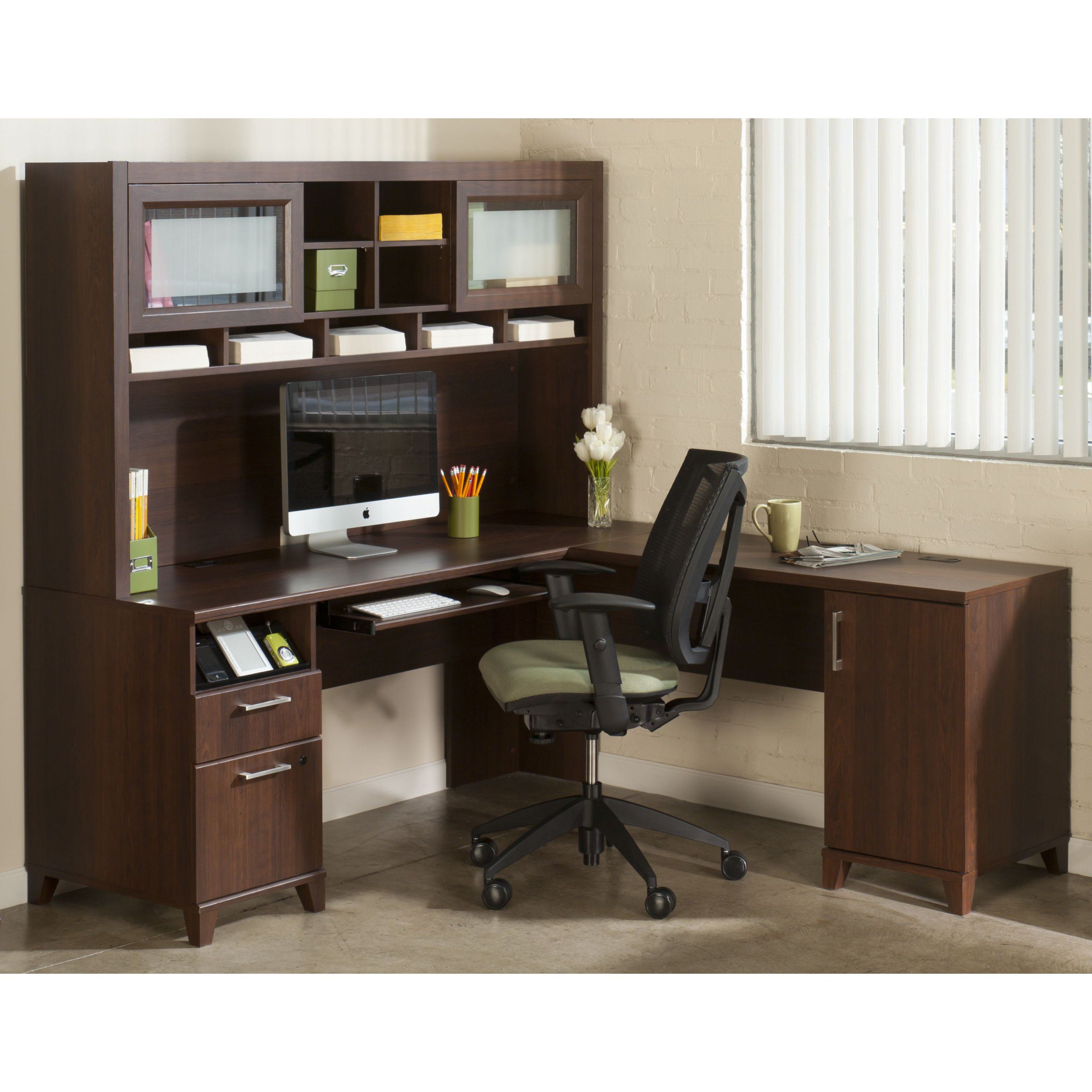 Bush Office Connect Achieve L-Shaped Desk with Hutch - Sweet Cherry