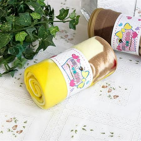 TB-BLK016-YELLOW-27.6by38.6 Teddy Bear - Yellow Korean Coral Fleece Mini Baby Throw Blanket ()
