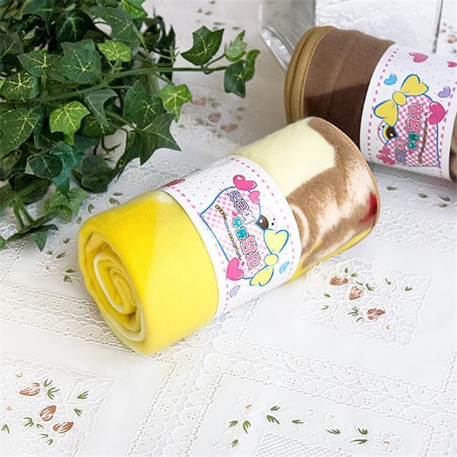 TB-BLK016-YELLOW-27.6by38.6 Teddy Bear - Yellow Korean Coral Fleece Mini Baby Throw Blanket