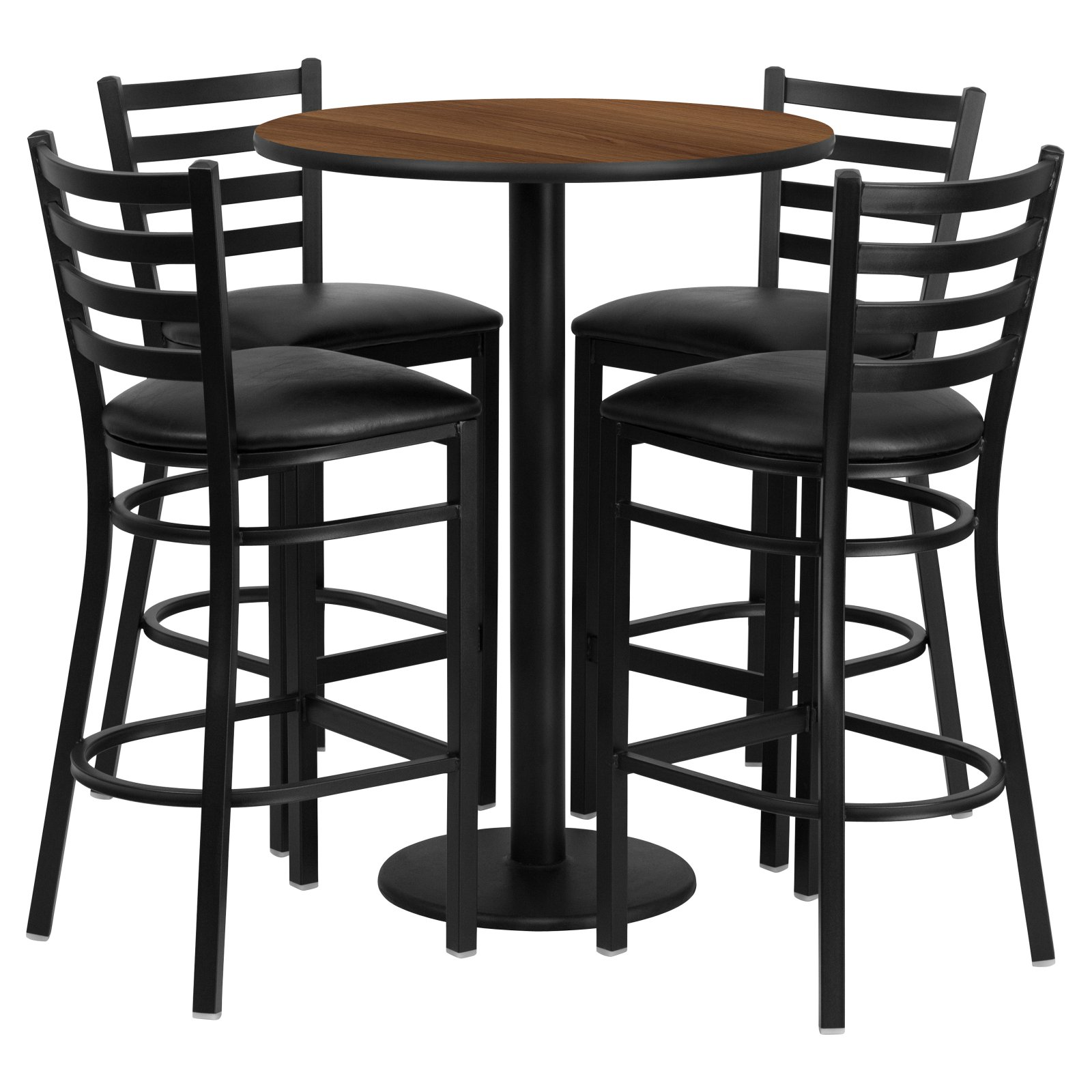 Flash Furniture 30'' Round Walnut Laminate Table Set with 4 Ladder Back Metal Barstools, Black Vinyl Seat