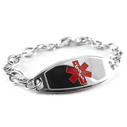 My Identity Doctor White Symbol Oval Links Pre-Engraved /& Customizable Blood Thinners Medical Bracelet