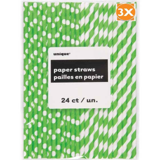 (3 Pack) Polka Dot & Striped Paper Straws, 8.25 in, Lime Green, 24ct