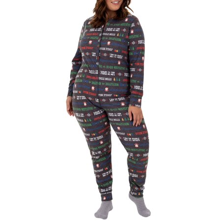 Women's Plus Size Christmas Ribbed Thermal Union Suit - Cheap Plus Size Onesies