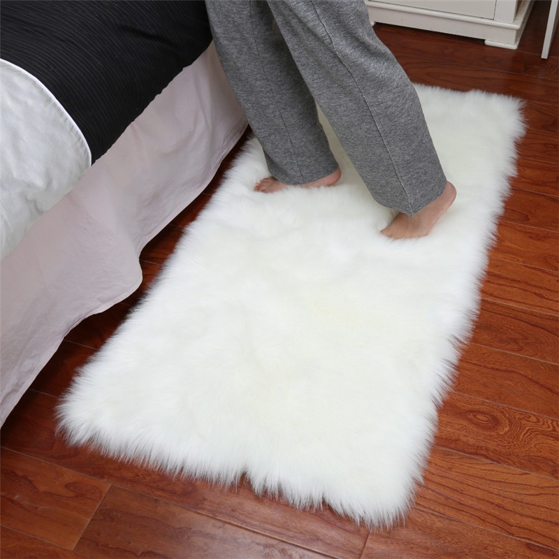 Fashion Long Faux Fur Artificial Skin Rectangle Fluffy Chair Seat Sofa Cover Carpet Mat Area Rug Living Bedroom Home Decoration