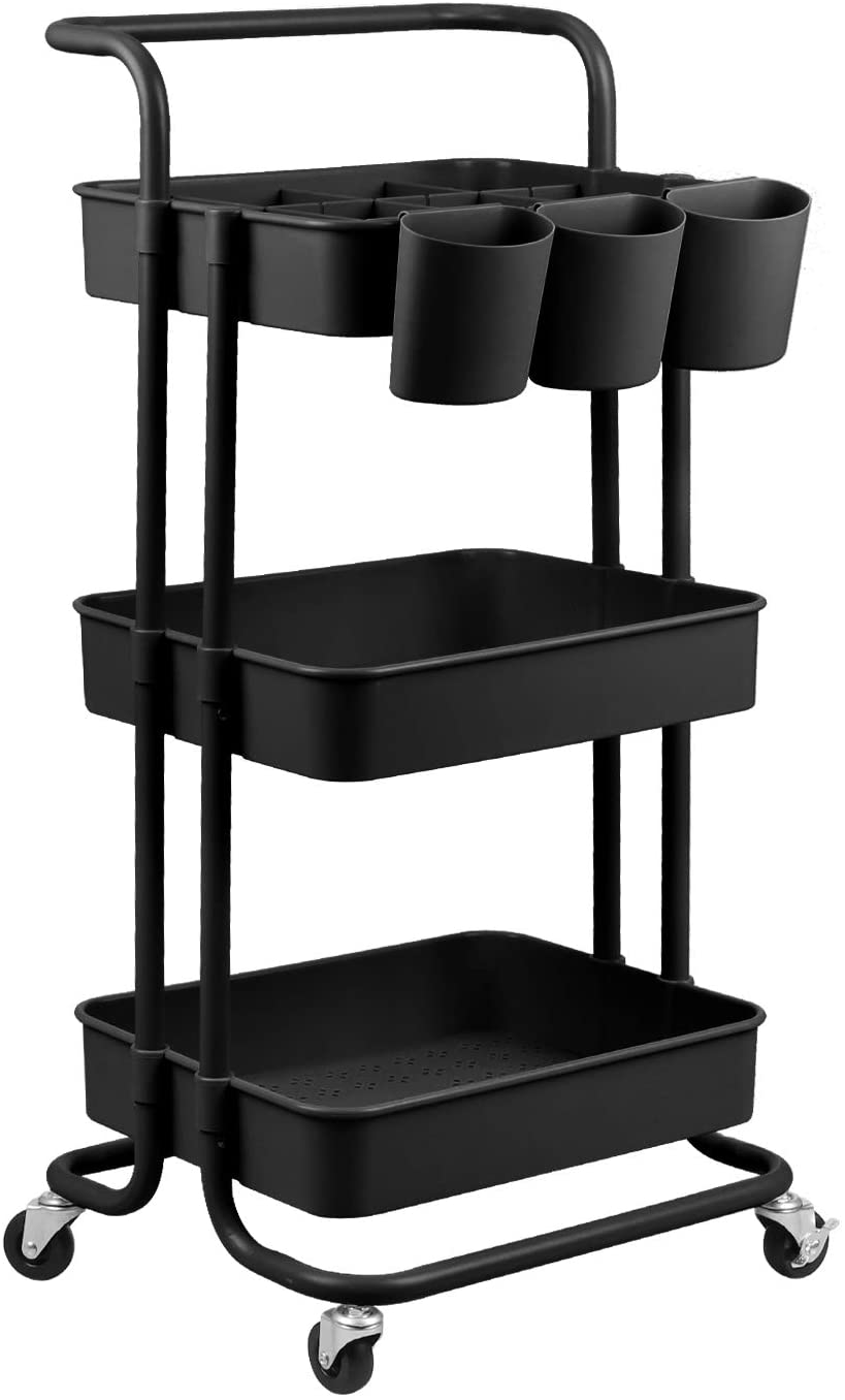 Library Storage Trolley on Wheels Office black ABS Storage Organiser Mesh Basket Shelf with Ergonomic Handles for Bathroom alvorog 3-Tier Rolling Cart Kitchen