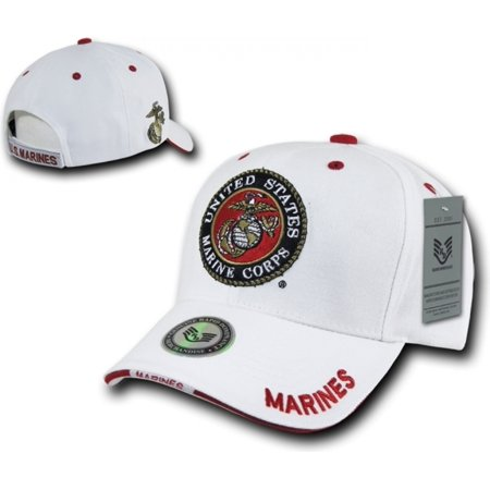 RapDom United States Marine Corps Military Mens Cap [White - Adjustable]