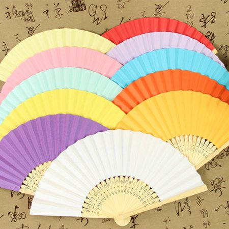 DIY Summer Bamboo Folding Hand Held Fan Chinese Dance Party Solid Color Fan - image 8 de 10