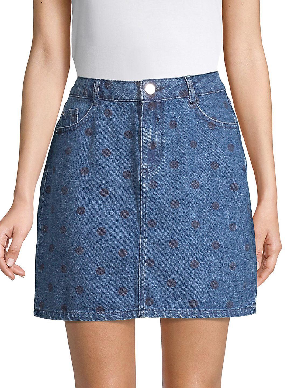 Polka Dot Denim Mini Skirt