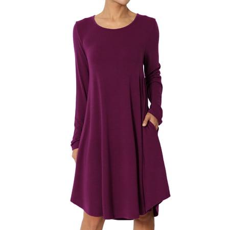 TheMogan Women's S~3XL Basic Jersey Knit 3/4 Sleeve Pocket Loose T-Shirt Dress ()