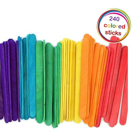 240 Colored Natural Wood Popsicle Sticks Wooden Craft Sticks 4-1/2 x 3/8 (Arts And Crafts With Popsicle Sticks)