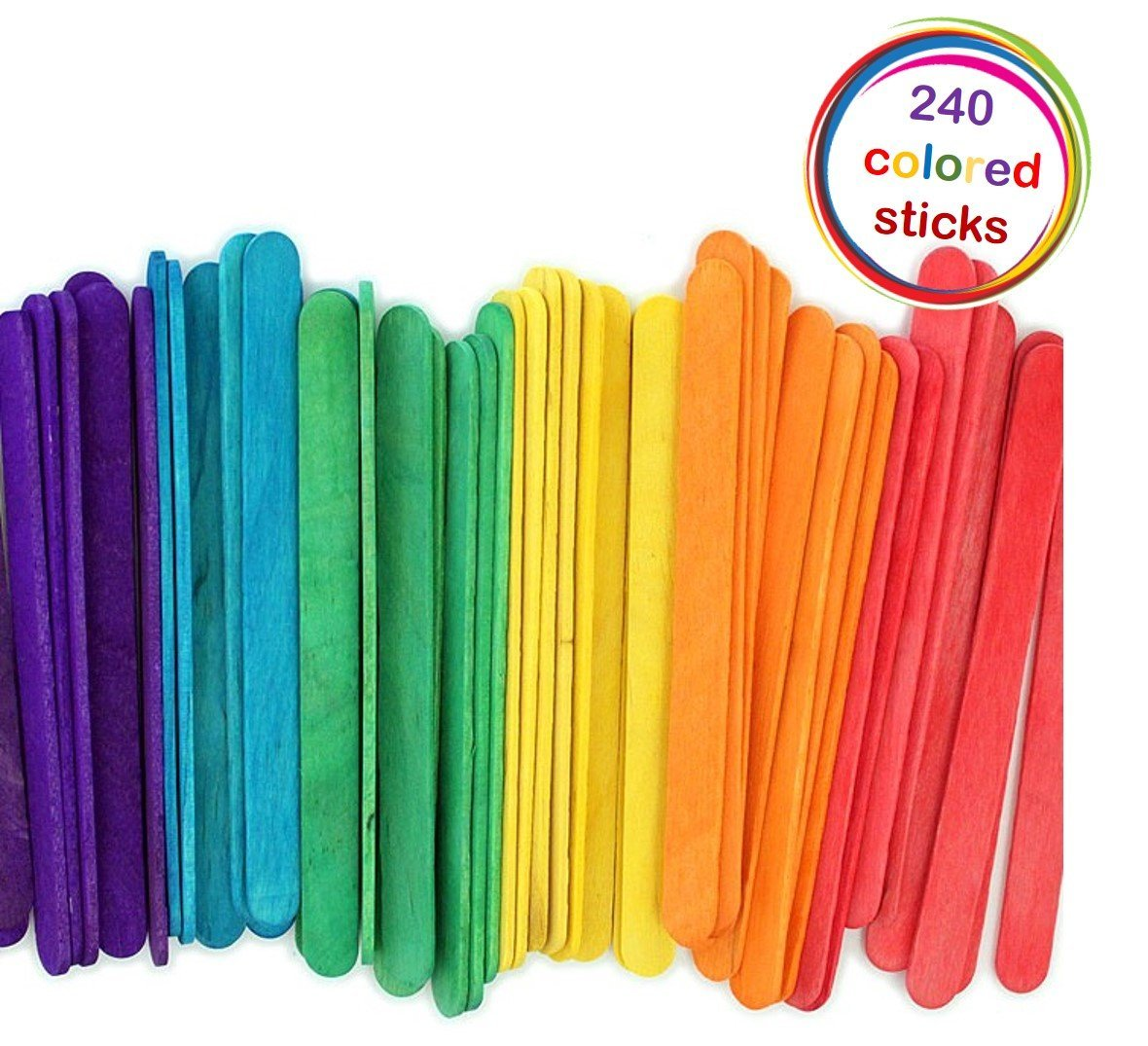 240 Colored Natural Wood Popsicle Sticks Wooden Craft Sticks 4-1/2 x 3/8