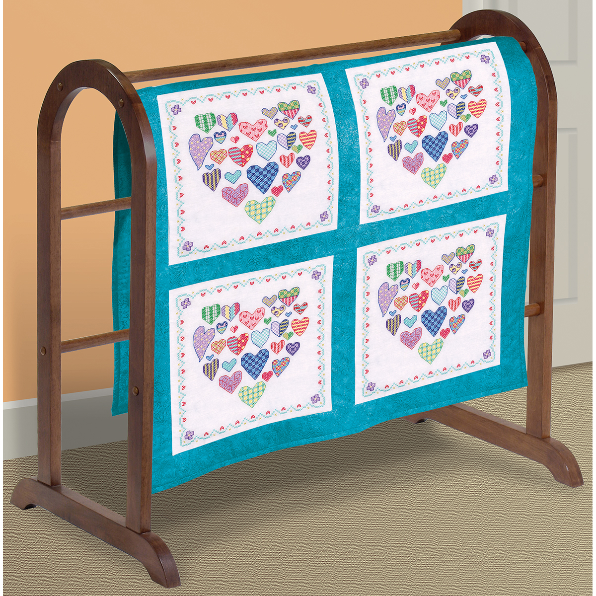 """Heart Filled with Hearts Quilt Blocks Stamped Cross-Stitch, 18"""" x 18"""", 6pk"""