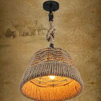 GHP Black Metal & Hemp Rope Woven Basket Inspired Drum Shade Adjustable Pendant Light