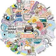 PRETTY SUNSHINE Cute VSCO Stickers Decal, Waterproof Vinyl Stickers Pack for Water Bottle, Hydro Flask, Laptop, Skateboard, Luggage, Phone, Aesthetic Stickers for VSCO Girl Kids Women, 50Pcs