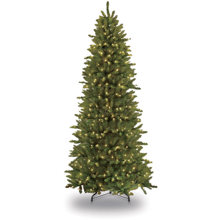 Puleo International 7 5 Ft Pre Lit Slim Fraser Fir Artificial Christmas Tree With 500