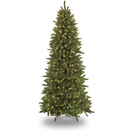 Puleo International 7.5 ft. Pre-Lit Slim Fraser Fir Artificial Christmas Tree with 500 Clear UL listed Lights ()