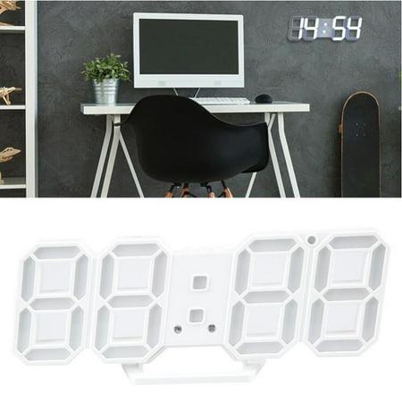 Digital 3D LED Wall Clock Alarm Clock Snooze 12/24 Hour Display USB Modern White (Led Wall Clock)