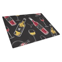 Caroline's Treasures Red and White Wine on Black Glass Cutting Board Large
