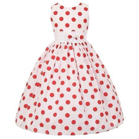 Little Girls White Red Polka Dots Poly Cotton Spring Dress 4