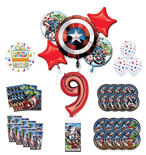 Mayflower Products Avengers 9th Birthday Party Supplies and 8 Guest Balloon Decoration Kit