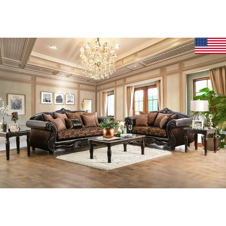 Majestic Royal 2pc Sofa Set Living Room Furniture Formal Traditional Sofa  Loveseat Pillows Brown Chenille Fabric USA