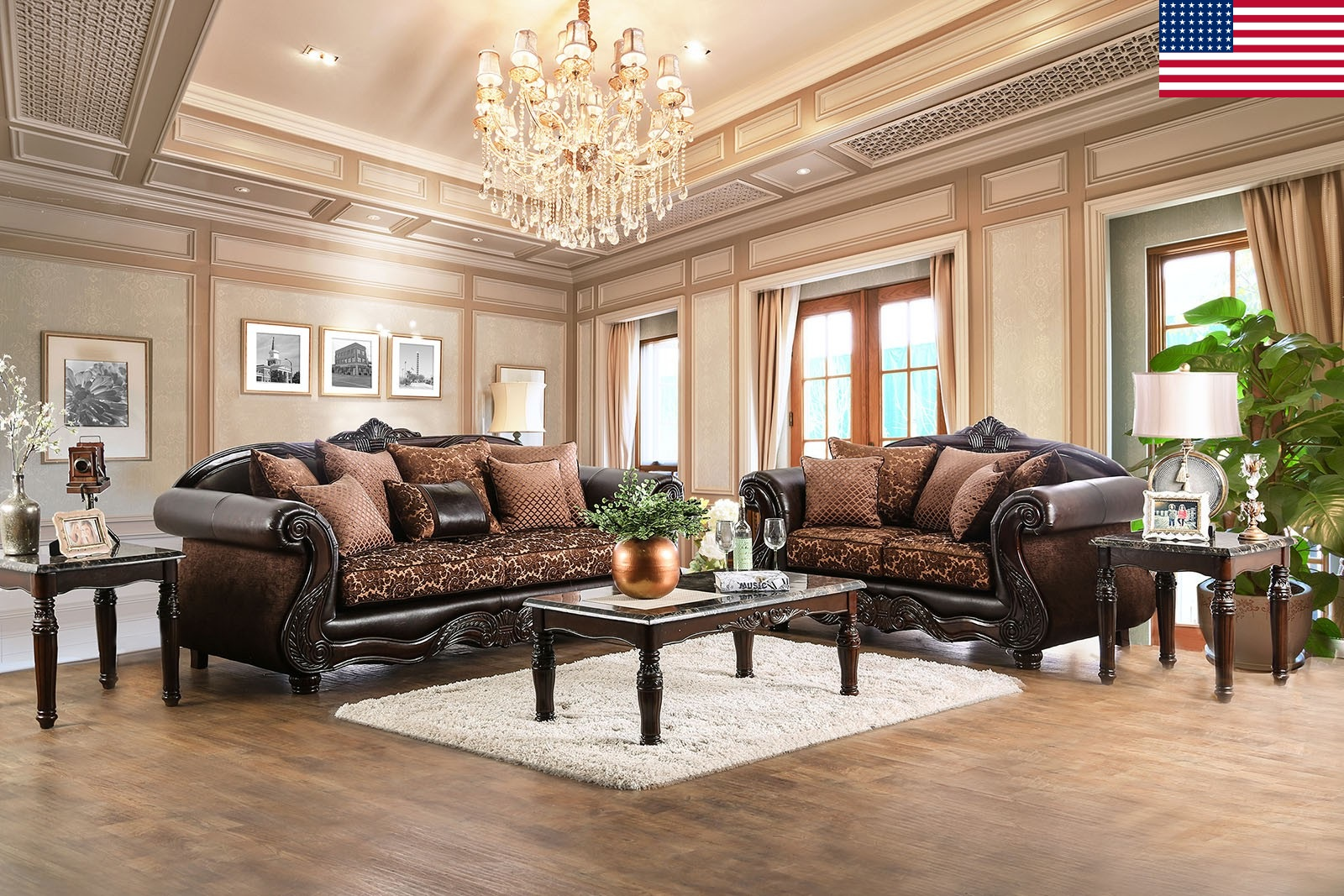 Ordinaire Majestic Royal 2pc Sofa Set Living Room Furniture Formal Traditional Sofa  Loveseat Pillows Brown Chenille Fabric