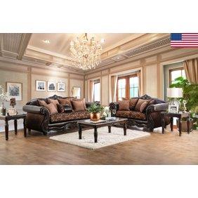 Luxurious Jolanda Sofa Set Sofa And Loveseat Grey Traditional Living Room  Furniture 2pc Set Button Tufted Design