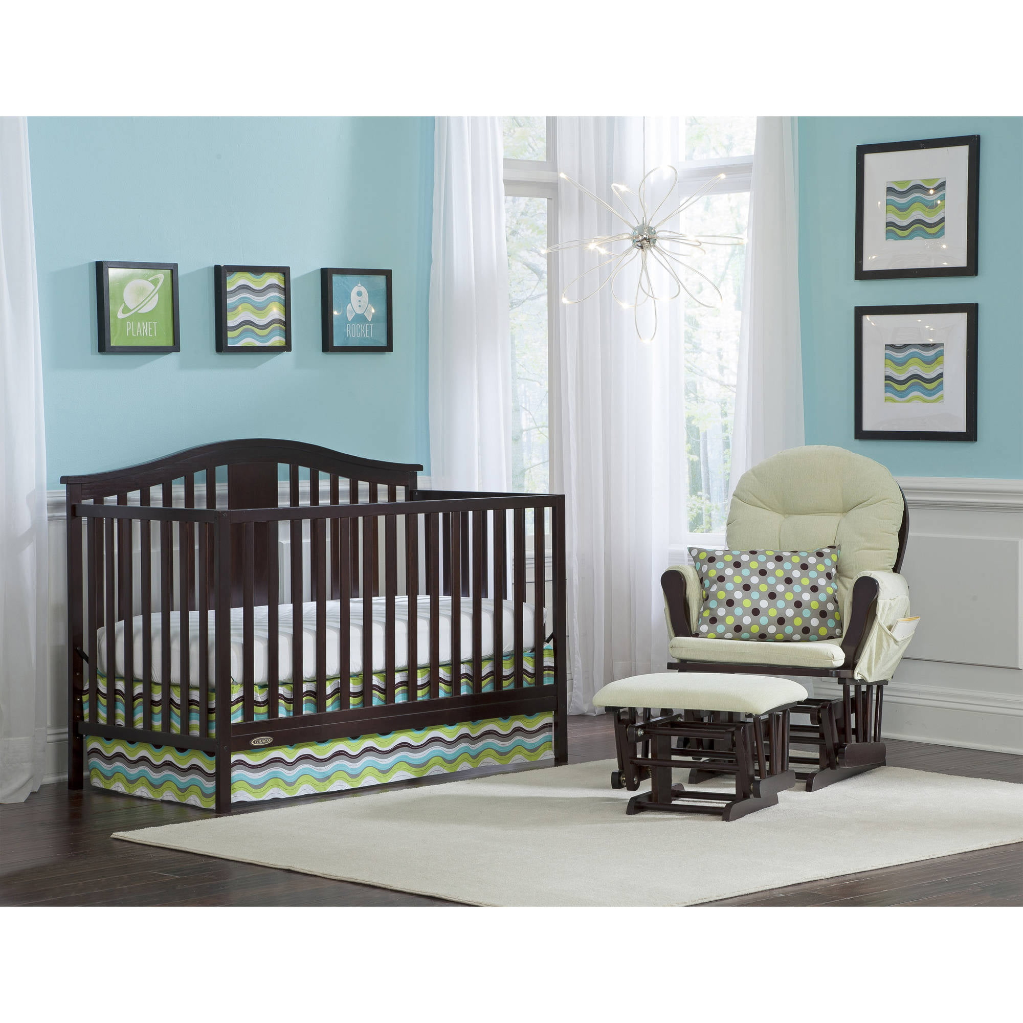 Convertible Crib Wood Espresso 4 In 1 W Mattress Included Nursery Furniture 56927096428 Ebay