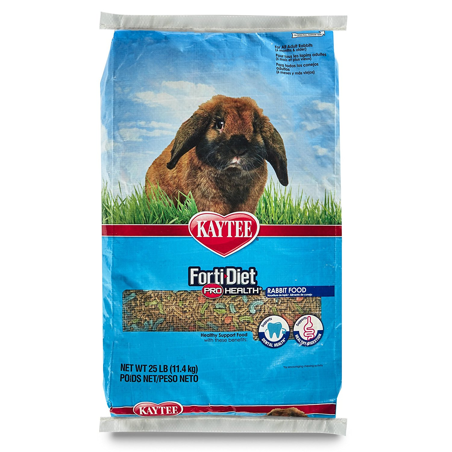 Forti Diet Pro Health Rabbit Food for Adult Rabbit, 25-Pound, Larger, crunchy pieces support dental health... by