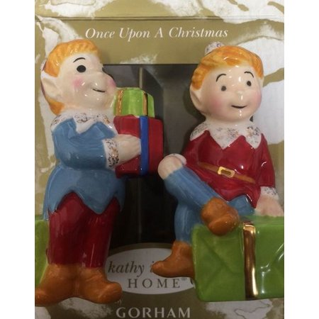 Irish Porcelain Kitchen - Kathy Ireland Once Upon a Christmas Elf Porcelain Salt and Pepper Shakers