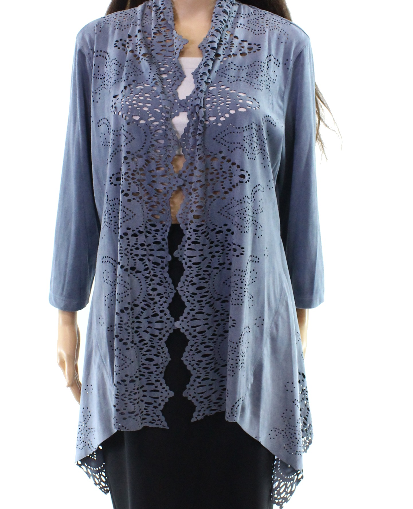 Multiples NEW Blue Women's Large PL Petite Laser Cut Faux Suede Jacket