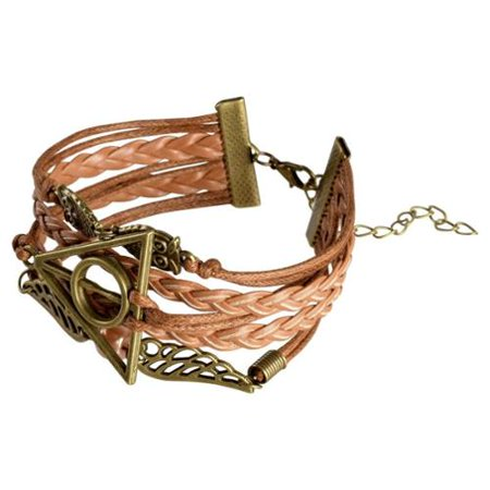 Brown Leather Cord Bracelet - Zodaca 7 to 9 inch Adjustable Brown Braided Velvet and Leather Cord Bracelet with Bronze Owl Design