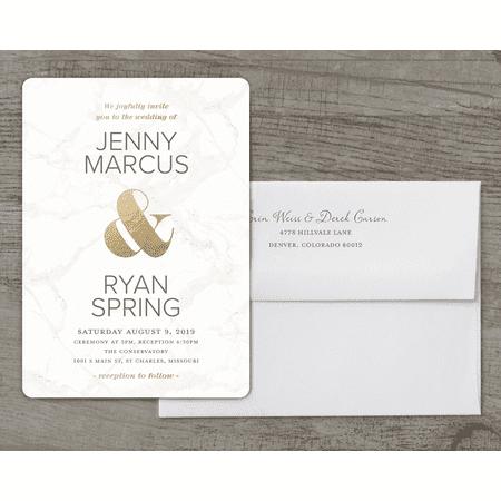 Personalized Wedding Invitation - Classic Marble - 5 x 7 Flat - Personalized Wedding Koozies