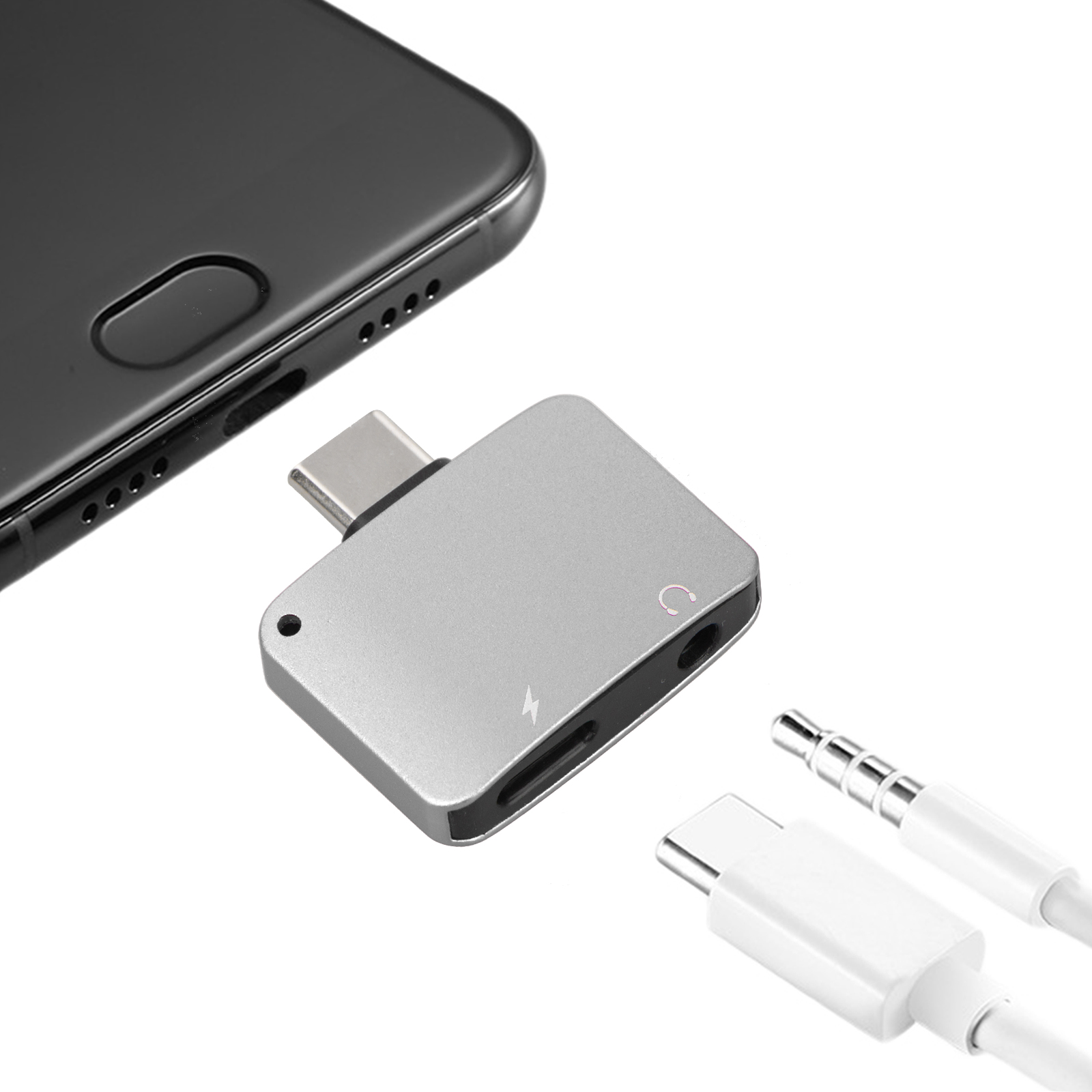 Type C to 3.5 mm and Charger Cable Adapter, 2 in1 Headphone Audio Jack USB C Cable, for LeEco Le Pro 3/Pro 3 Elite/ Max/Max 2, Motorola Moto Z/ Z Droid/ Z Force/ Z Play, One Plus 6/ Plus 6T