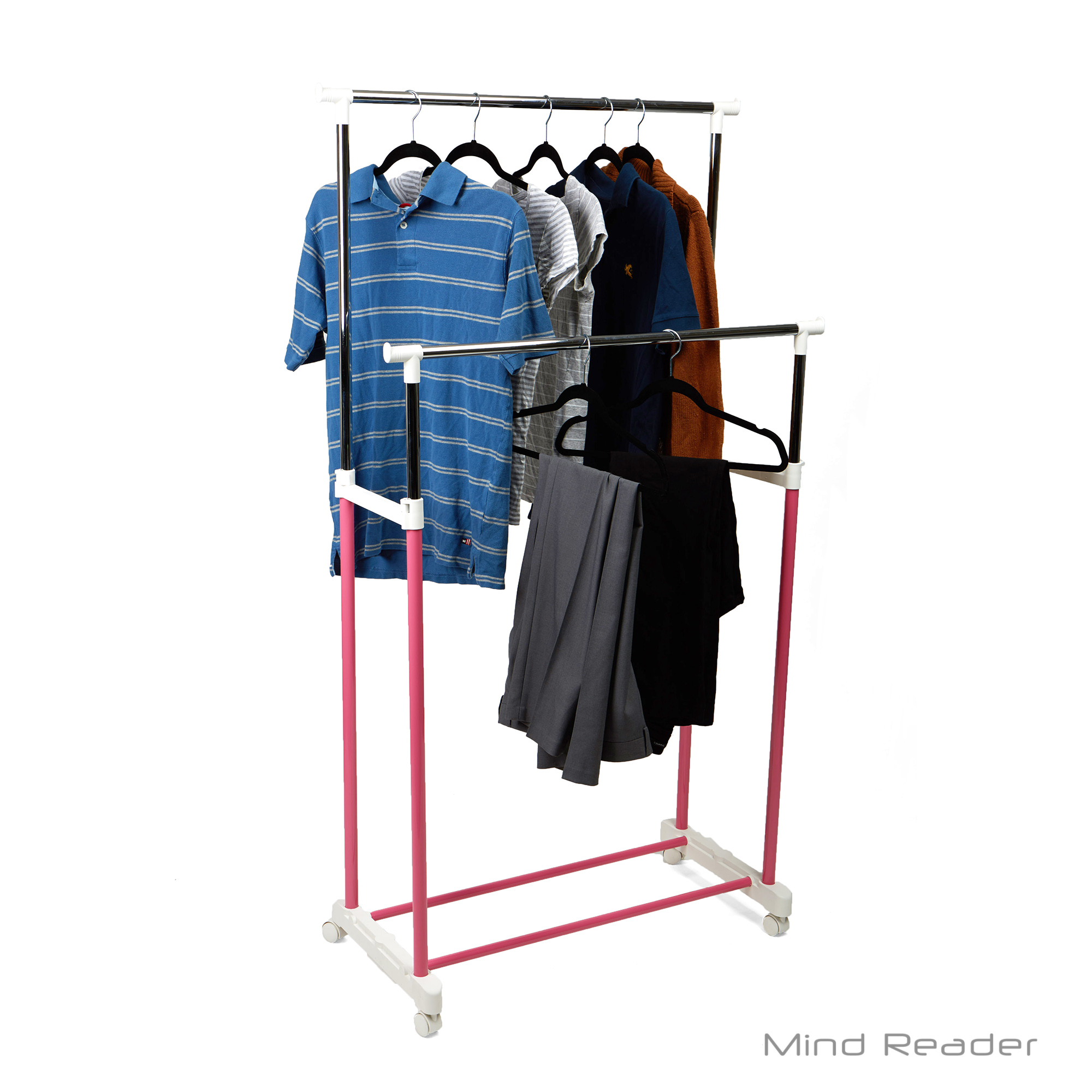 Mind Reader Double Rail Rolling Clothing Garment Rack Organizer, Metal, Portable, Pink
