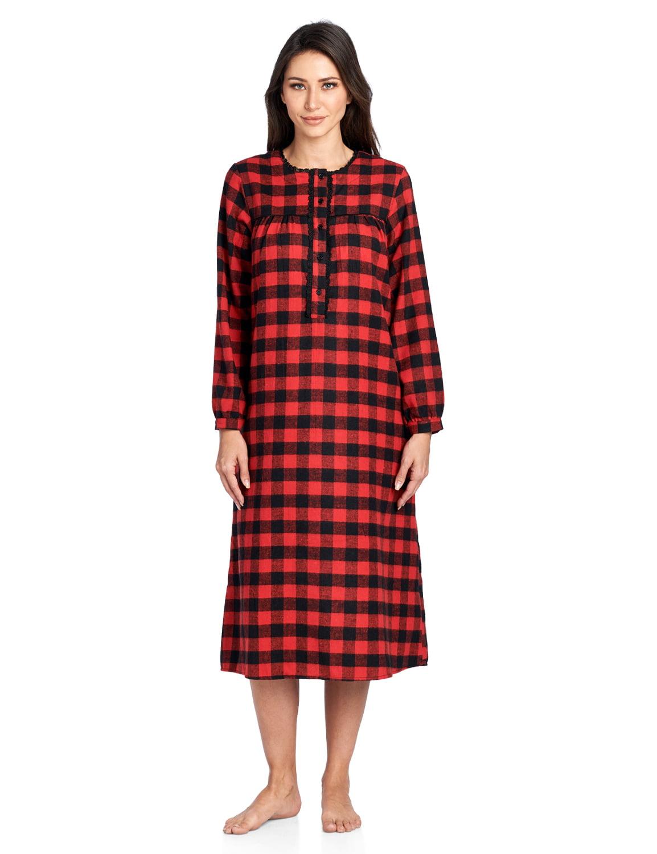 Ashford /& Brooks Womens Flannel Plaid Long Sleeve Nightgown